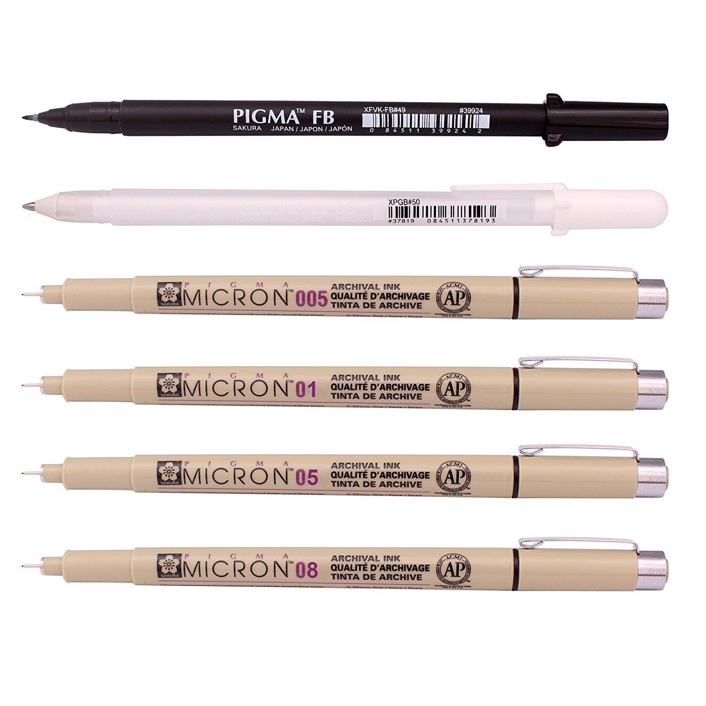 Sakura Pigma - Kit Tiralíneas Manga Basic; Micron (005, 01, 05, 08), Brush Pen (FB), Gelly Roll (Blanco)