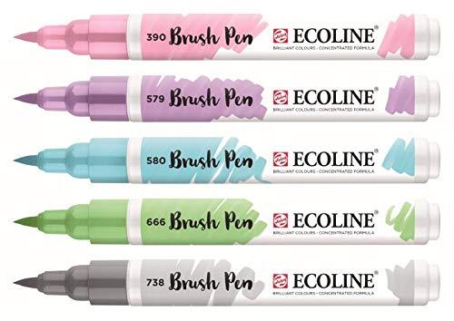 Royal Talens Ecoline - Set 5 Marcadores Brush Pen; Pastel