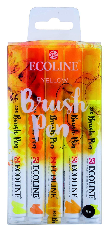 Royal Talens Ecoline - Set 5 Marcadores Brush Pen; Amarillos