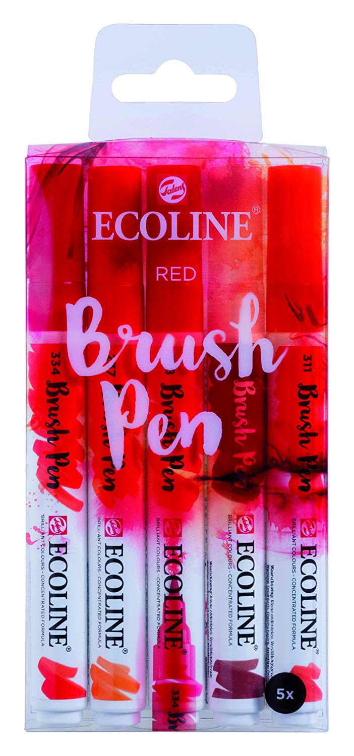 Royal Talens Ecoline - Set 5 Marcadores Brush Pen; Rojos