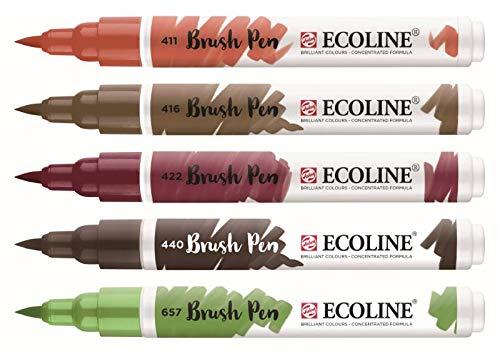 Royal Talens Ecoline - Set 5 Marcadores Brush Pen; Otoño