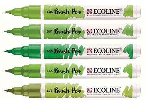 Royal Talens Ecoline - Set 5 Marcadores Brush Pen; Verdes