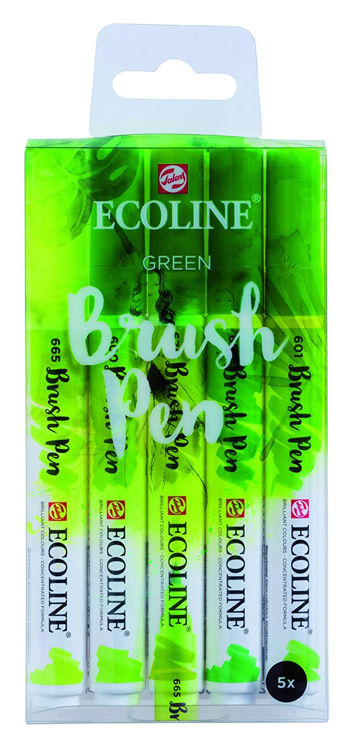 Royal Talens Ecoline - Set 5 Marcadores Brush Pen; Verdes
