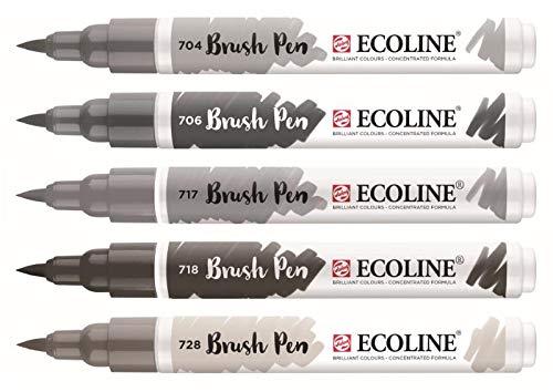 Royal Talens Ecoline - Set 5 Marcadores Brush Pen; Grises
