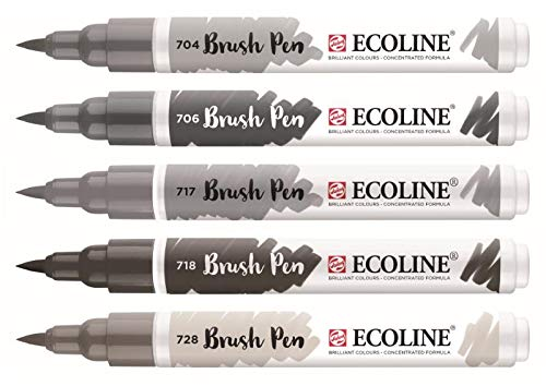 Royal Talens Ecoline - Set 5 Marcadores Brush Pen; Grises