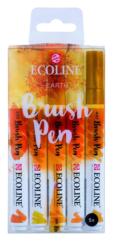 Royal Talens Ecoline - Set 5 Marcadores Brush Pen; Tierra