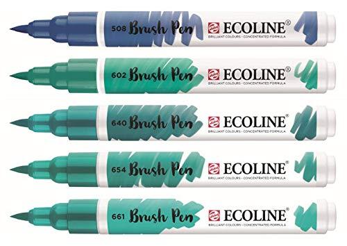 Royal Talens Ecoline - Set 5 Marcadores Brush Pen; Verde Azul