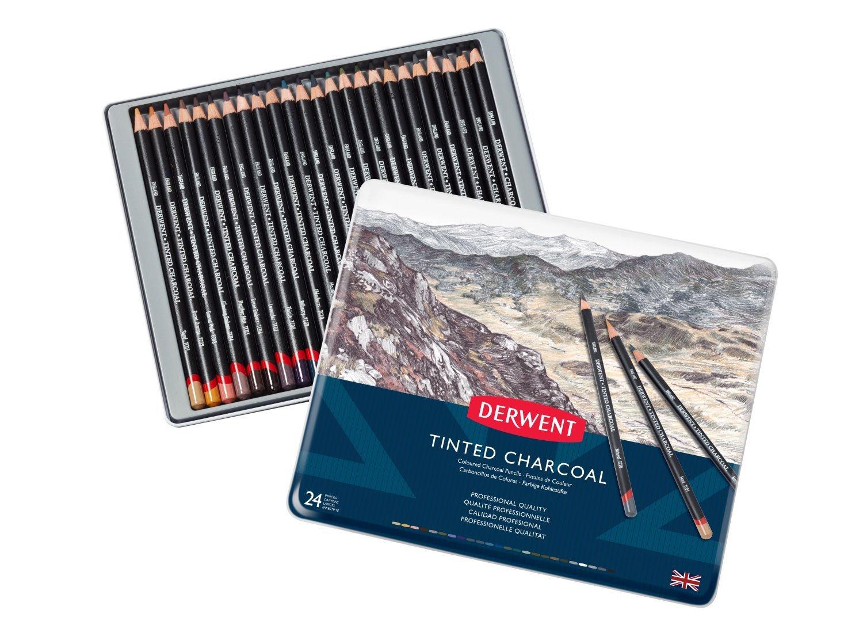 Derwent Tinted Charcoal - Set 24 Lápices Carboncillo Entintado