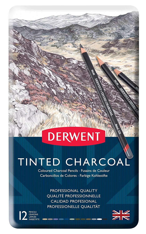 Derwent Tinted Charcoal - Set 12 Lápices Carboncillo Entintado