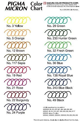 Sakura Pigma Micron - Set 8 Tiralíneas Colores; PN Plastic Nib