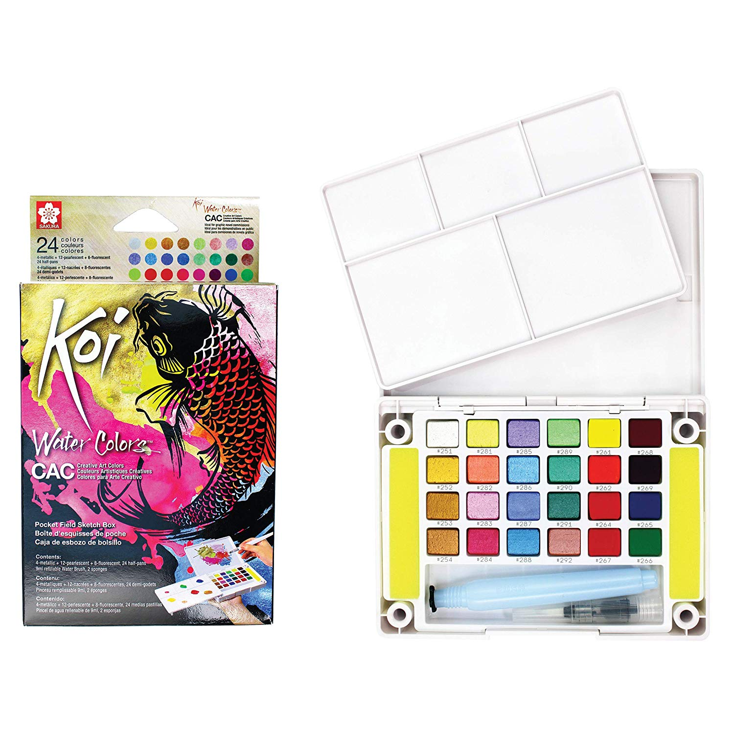Sakura Koi - Set 24 Acuarelas Water Colors; Colores Creativos, Con Water Brush