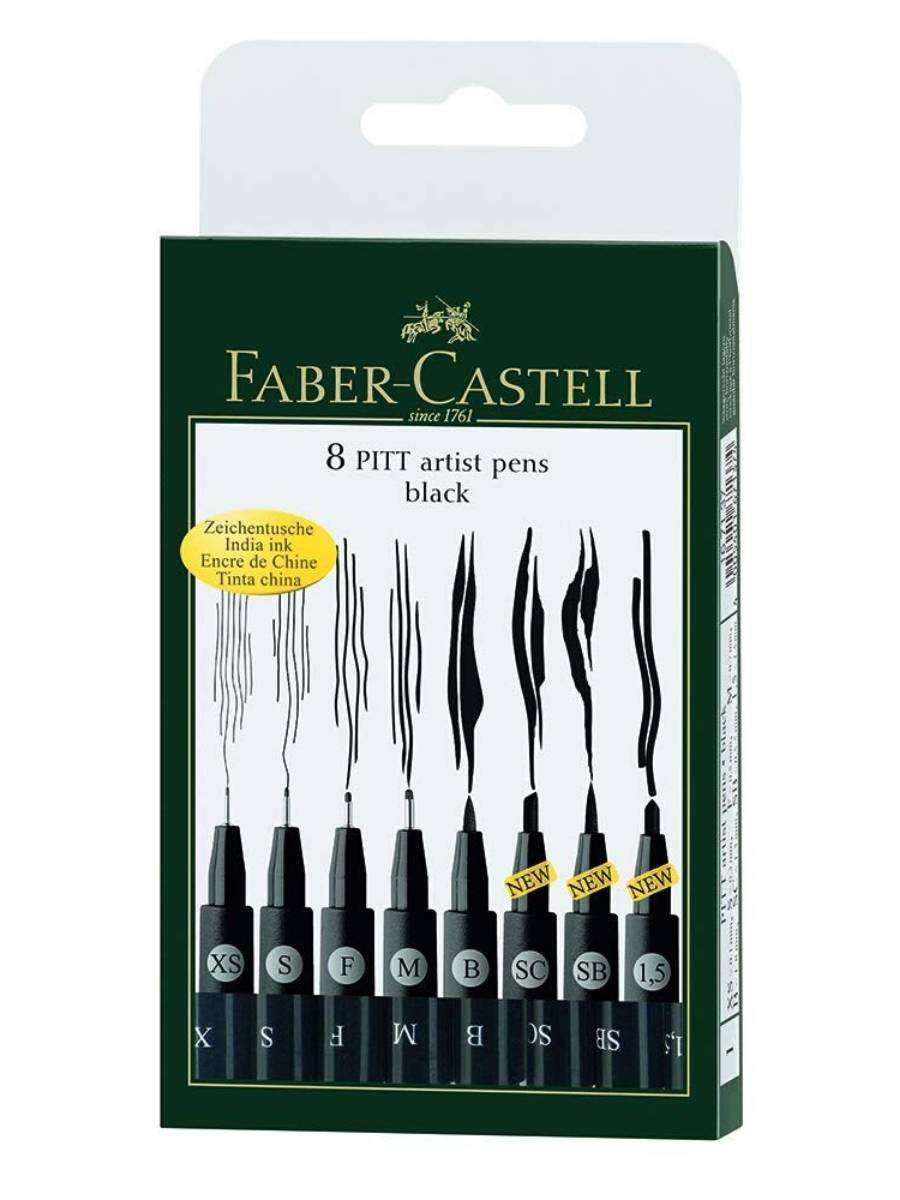 Faber Castell Pitt - Set 8 Tiralíneas Negro; Surtidos