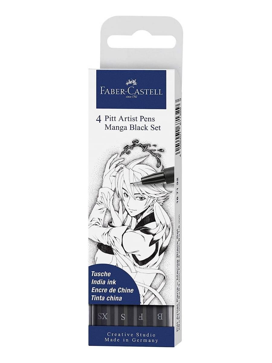Faber Castell Pitt - Set 4 Marcadores Manga Black