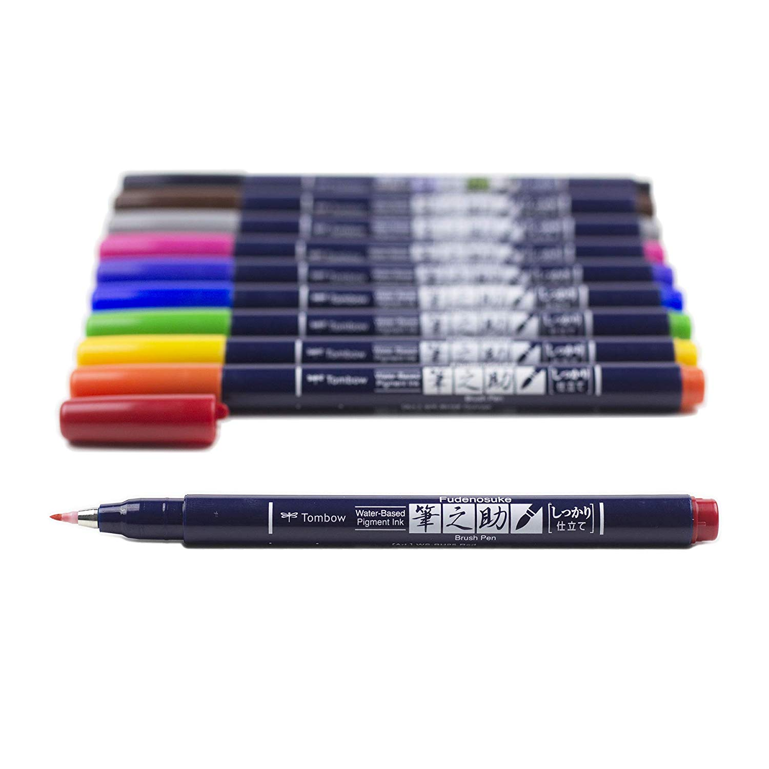 Tombow Fudenosuke - Set 10 Marcadores; Colors