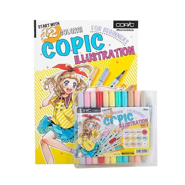 Copic Ciao - Set Ilustración Principiantes, 12 Marcadores y Guia de Dibujo Babiry