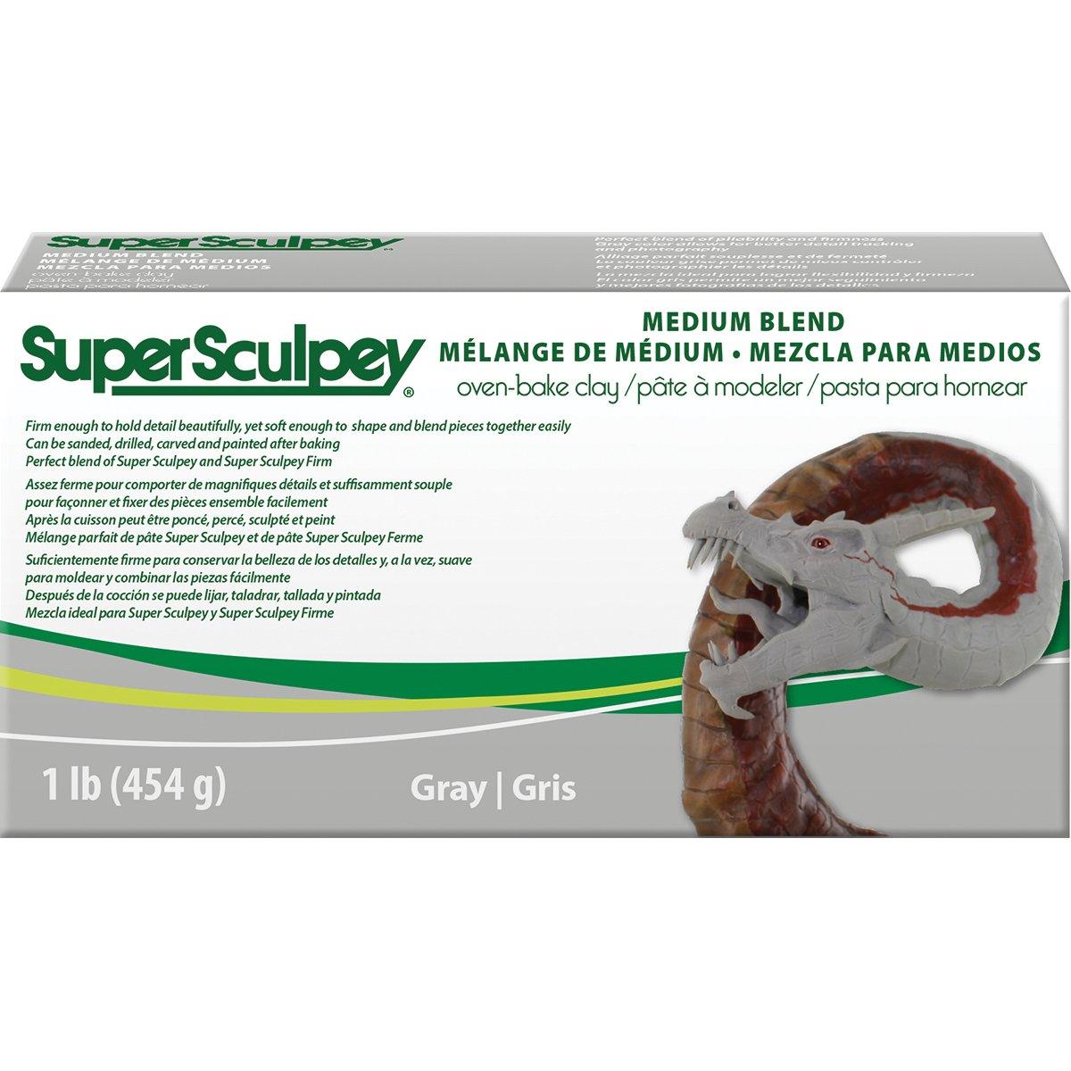 Super Sculpey - Arcilla Polimérica Medium Gris; 1 lb (454 g)
