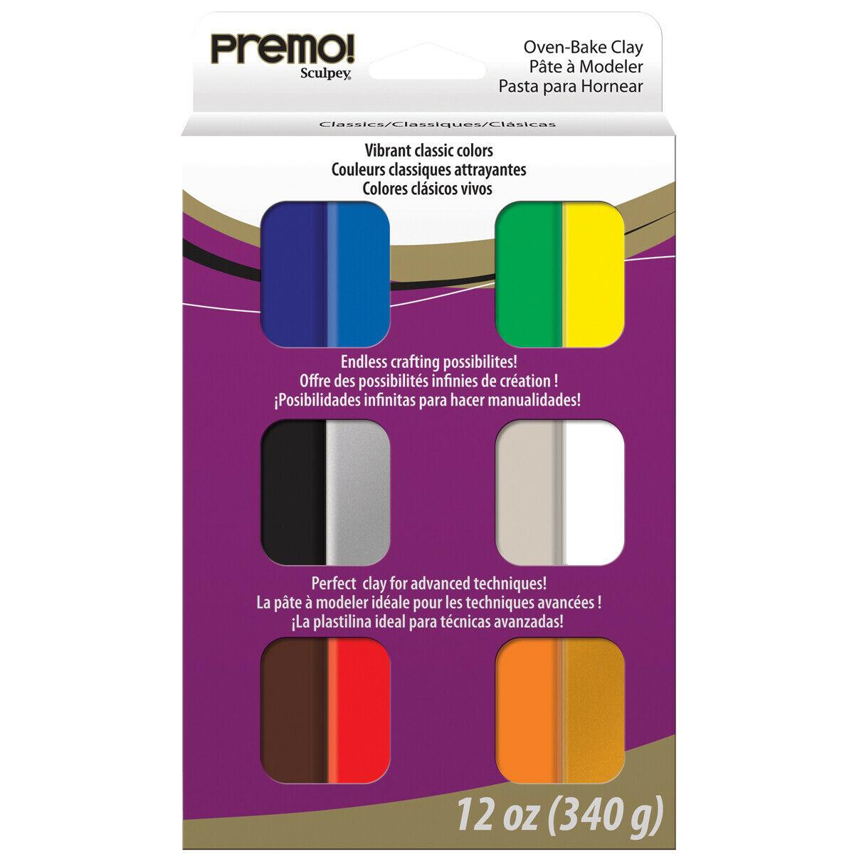 Sculpey Premo! - Arcilla Polimérica Multipack; 12 Colores Clásicos, 340g (12 x 28g)
