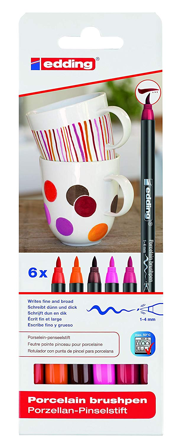 Edding Porcelain Brush Pen - Set 6 Marcadores Colores Cálidos para Porcelana