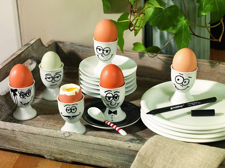 Edding Porcelain Brush Pen - Set 6 Marcadores Colores Clásicos para Porcelana