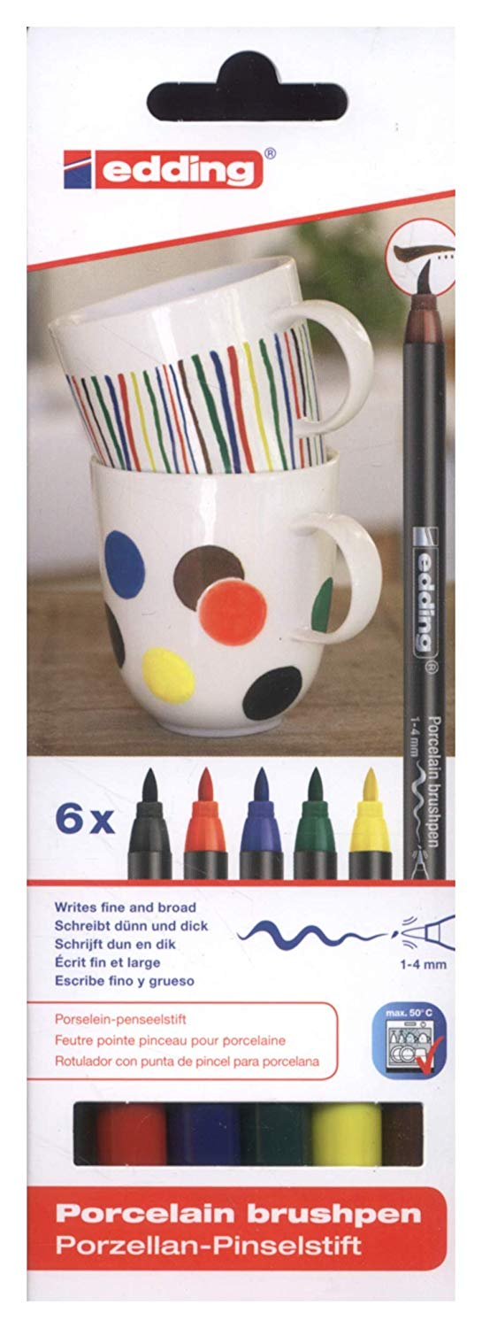 Edding Porcelain Brush Pen - Set 6 Marcadores Colores Clásicos para Porcelana