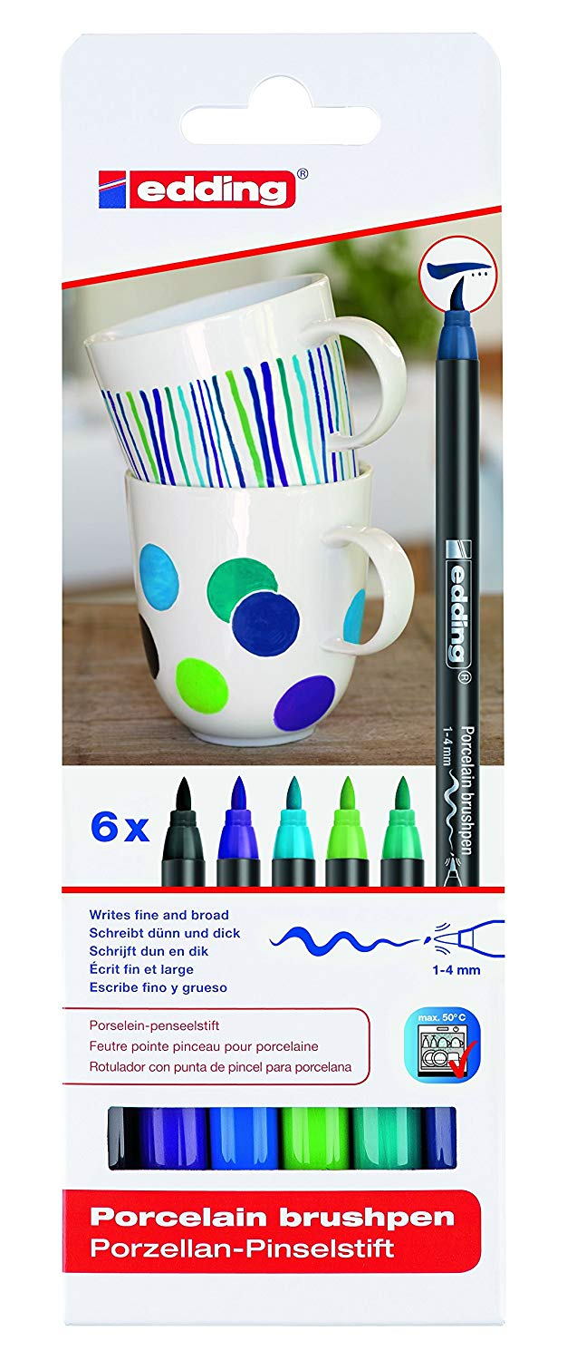 Edding Porcelain Brush Pen - Set 6 Marcadores Colores Fríos para Porcelana