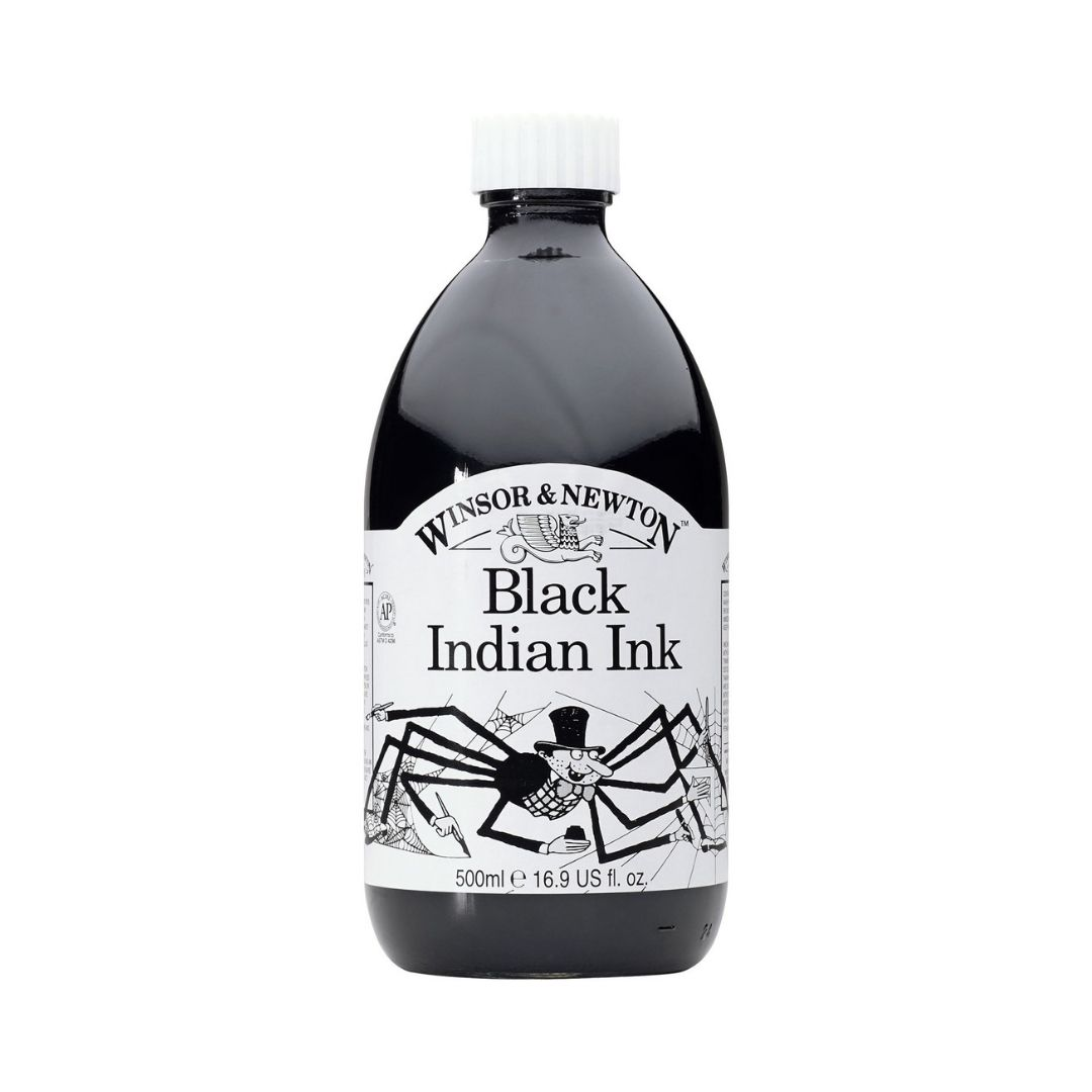 Winsor & Newton - Tinta para Dibujo Black Indian Ink, 500 ml