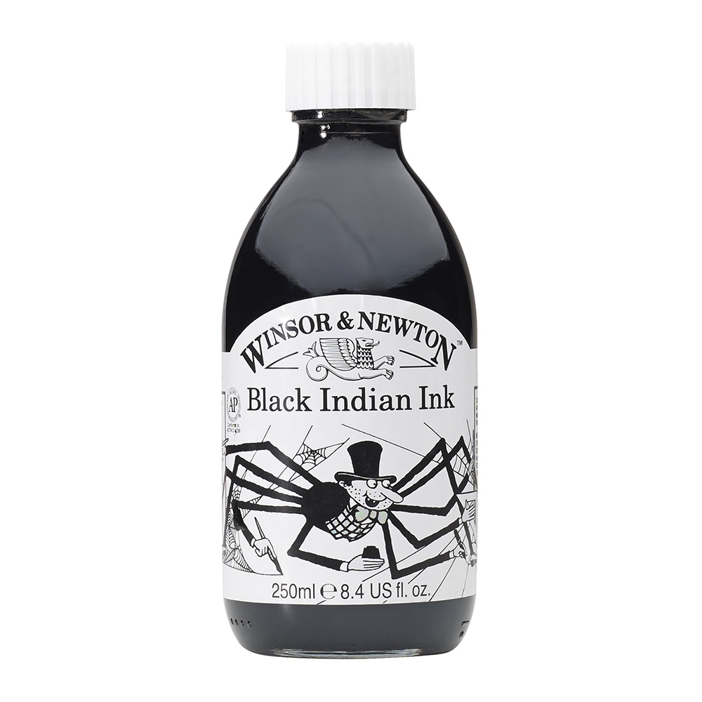 Winsor & Newton - Tinta para Dibujo Black Indian Ink, 250 ml