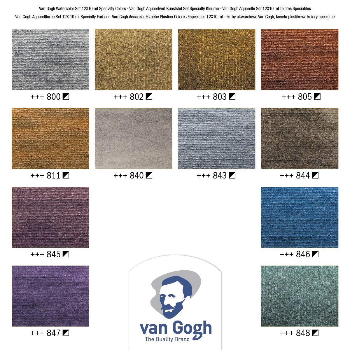 Van Gogh - Set 12 Acuarelas Colores Metálicos e Interferencia; Tubos 10 ml