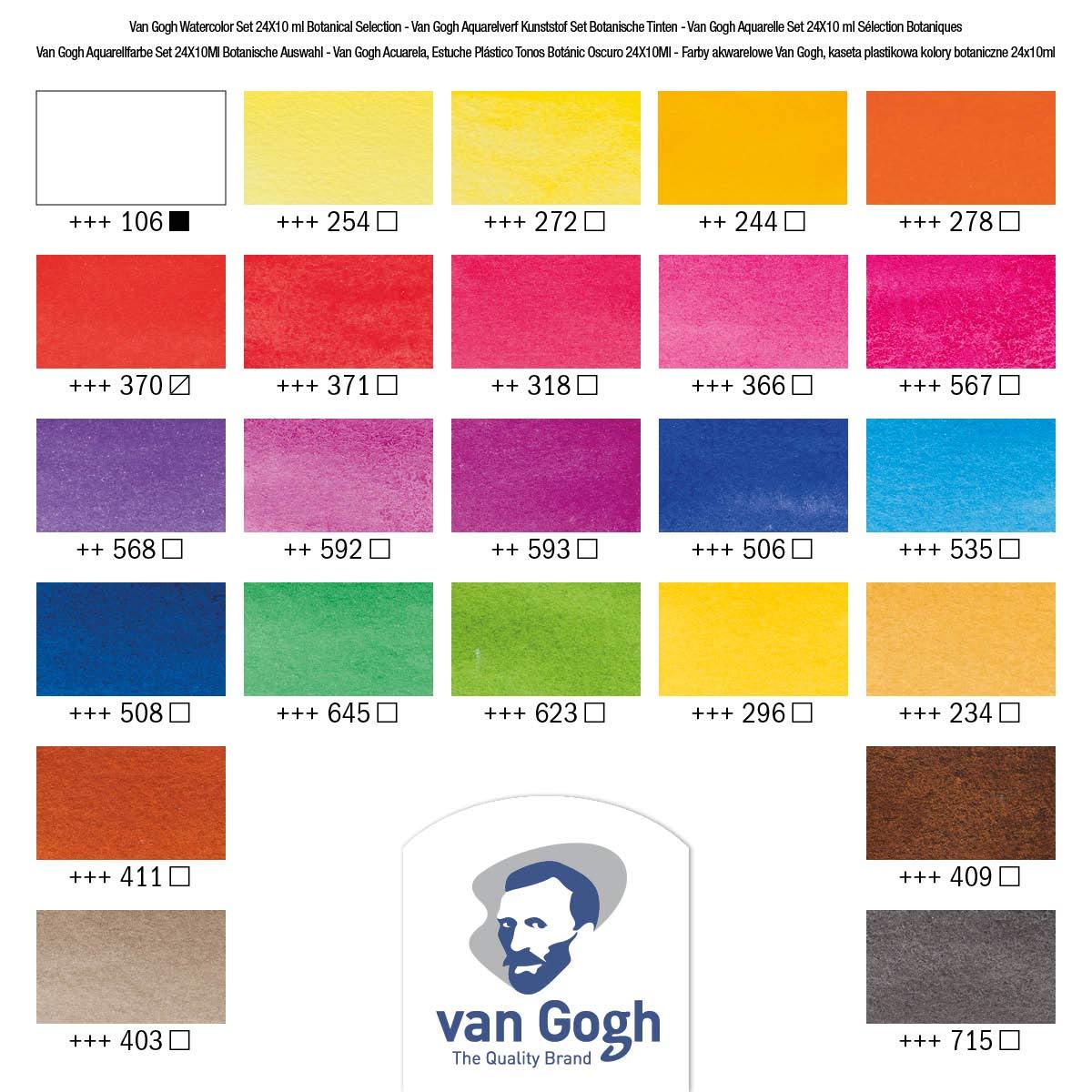 Van Gogh - Set 24 Acuarelas Colores Botánicos; Medias Pastillas