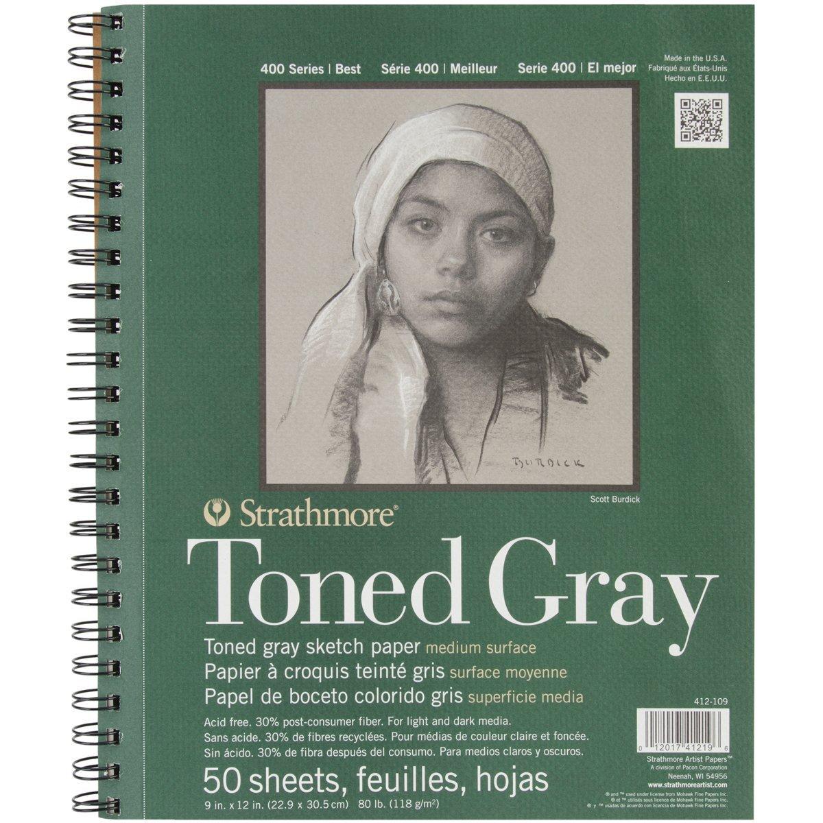 Strathmore Toned Gray - Croquera 22,9 x 30,5 cm 118 gr/m2 50 hojas