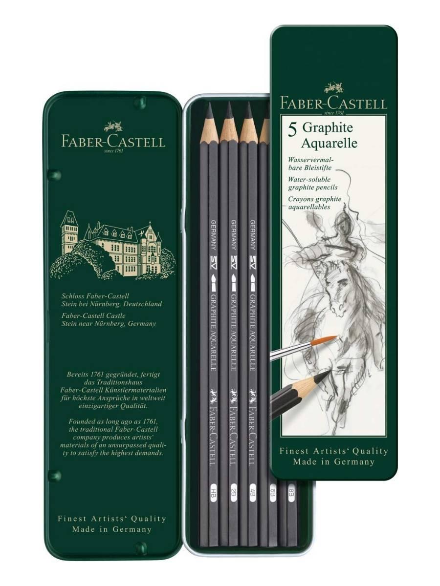 Faber Castell Graphite Aquarelle - Set 5 Lápices Grafito HB, 2B, 4B, 6B, 8B