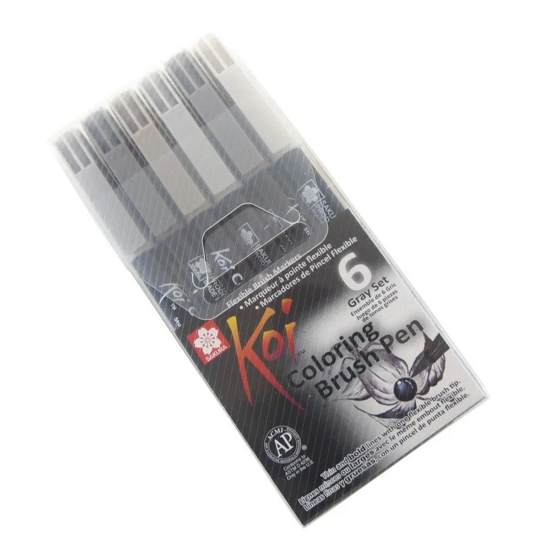 Sakura Koi - Set 6 Marcadores Coloring Brush Pens; Grises