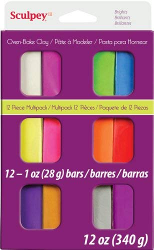 Sculpey III - Arcilla Polimérica Multipack Colores Brillantes 12 x 28 g