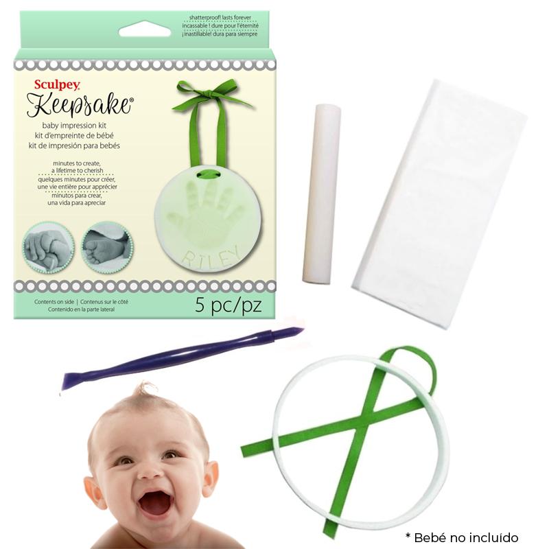 Sculpey Keepsake - Kit Arcilla Polimérica; Impresión de Huellas de Bebés y Mascotas