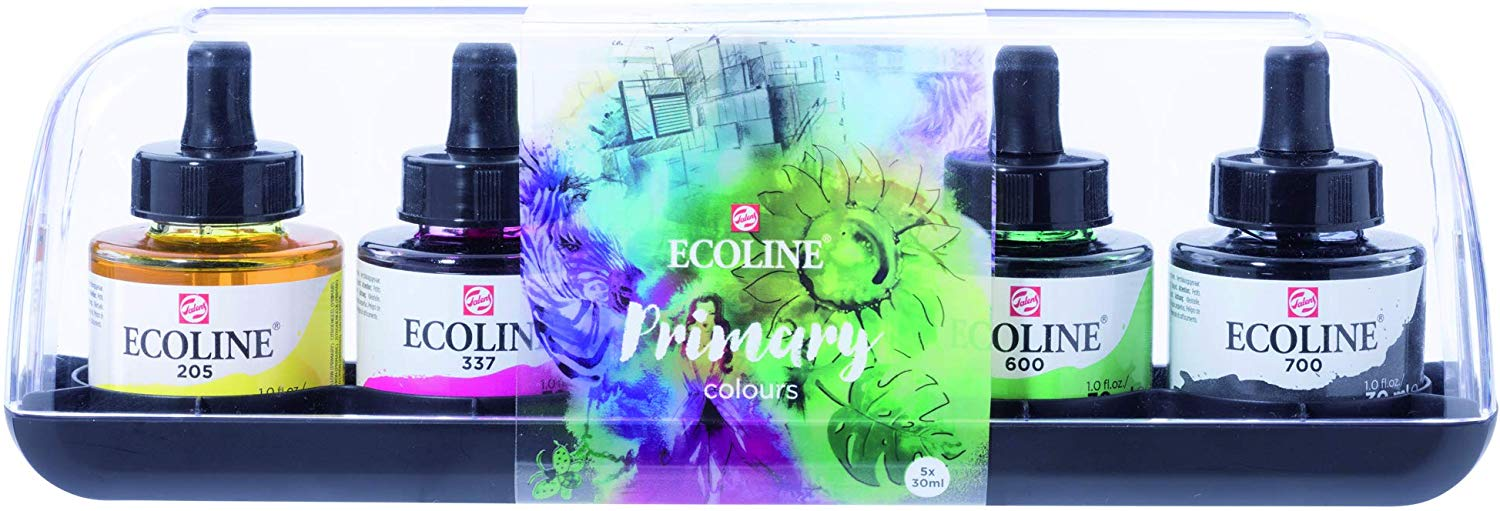 Royal Talens Ecoline - Set 5 Acuarelas Líquidas Primary Colours; Frascos 30 ml con Gotero