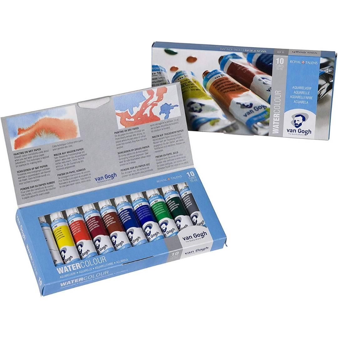 Van Gogh - Set 10 Acuarelas Colores Básicos en Tubos de 10 ml