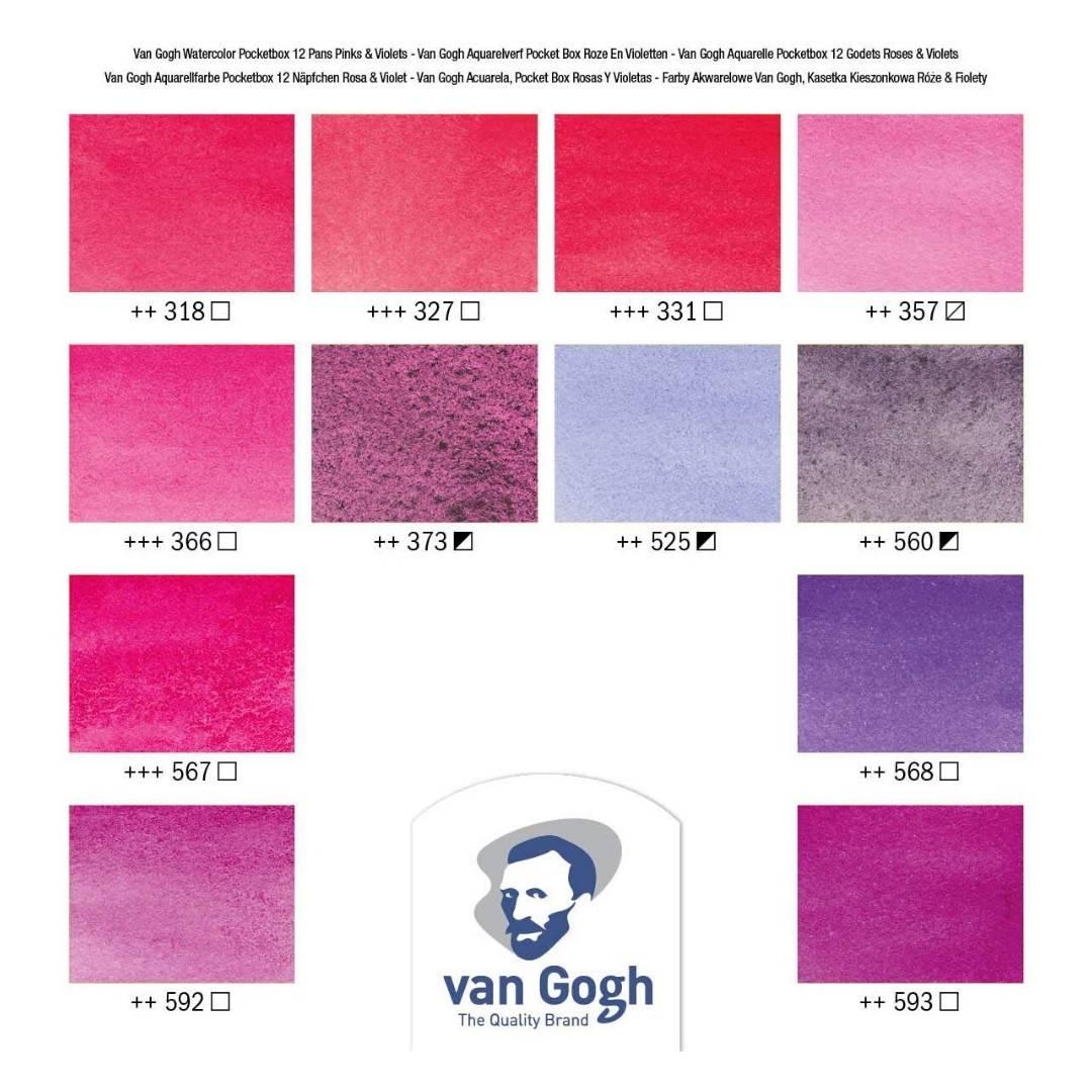 Van Gogh Pocket Box - Set 12 Acuarelas Rosados y Violetas
