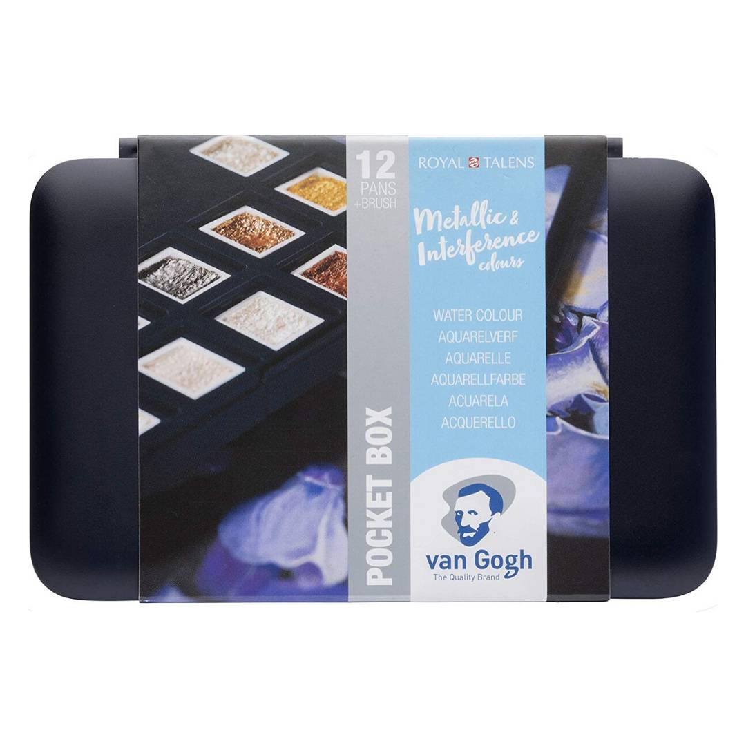 Van Gogh Pocket Box - Set 12 Acuarelas Metálicos e Interferencia