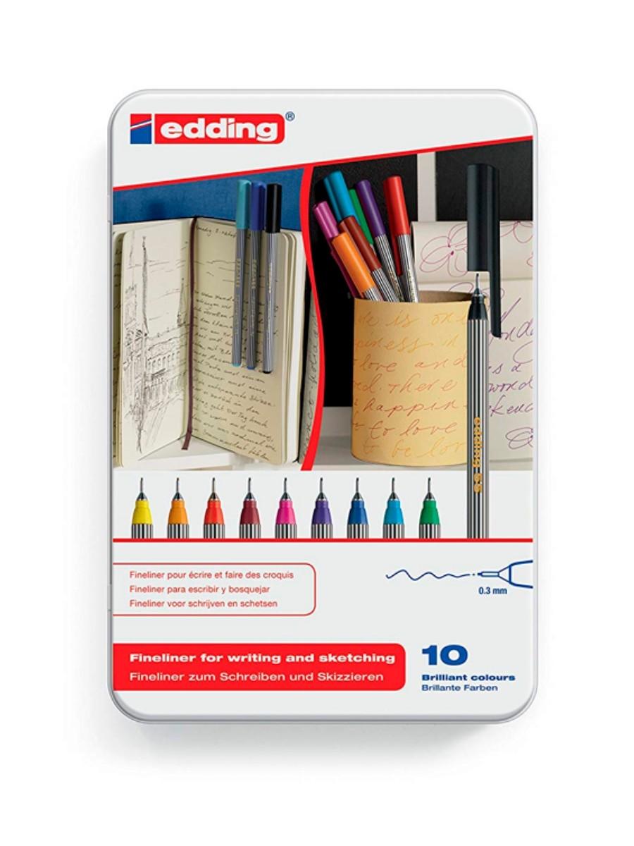 Edding 55 - Fineliner Set 10 Tiralíneas de Colores Punta 0.3
