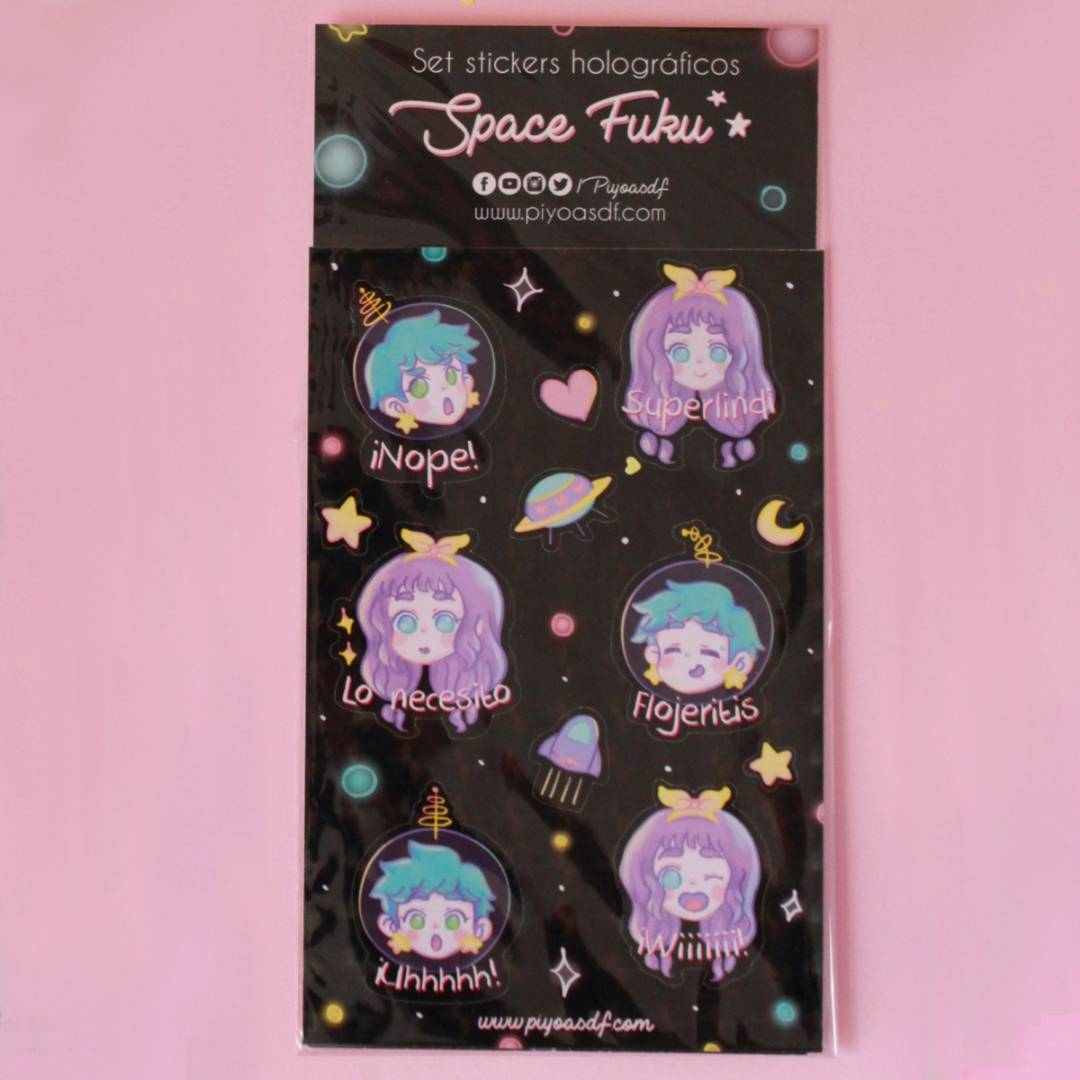 Piyoasdf - Pack Stickers Space Fuku Holográficos