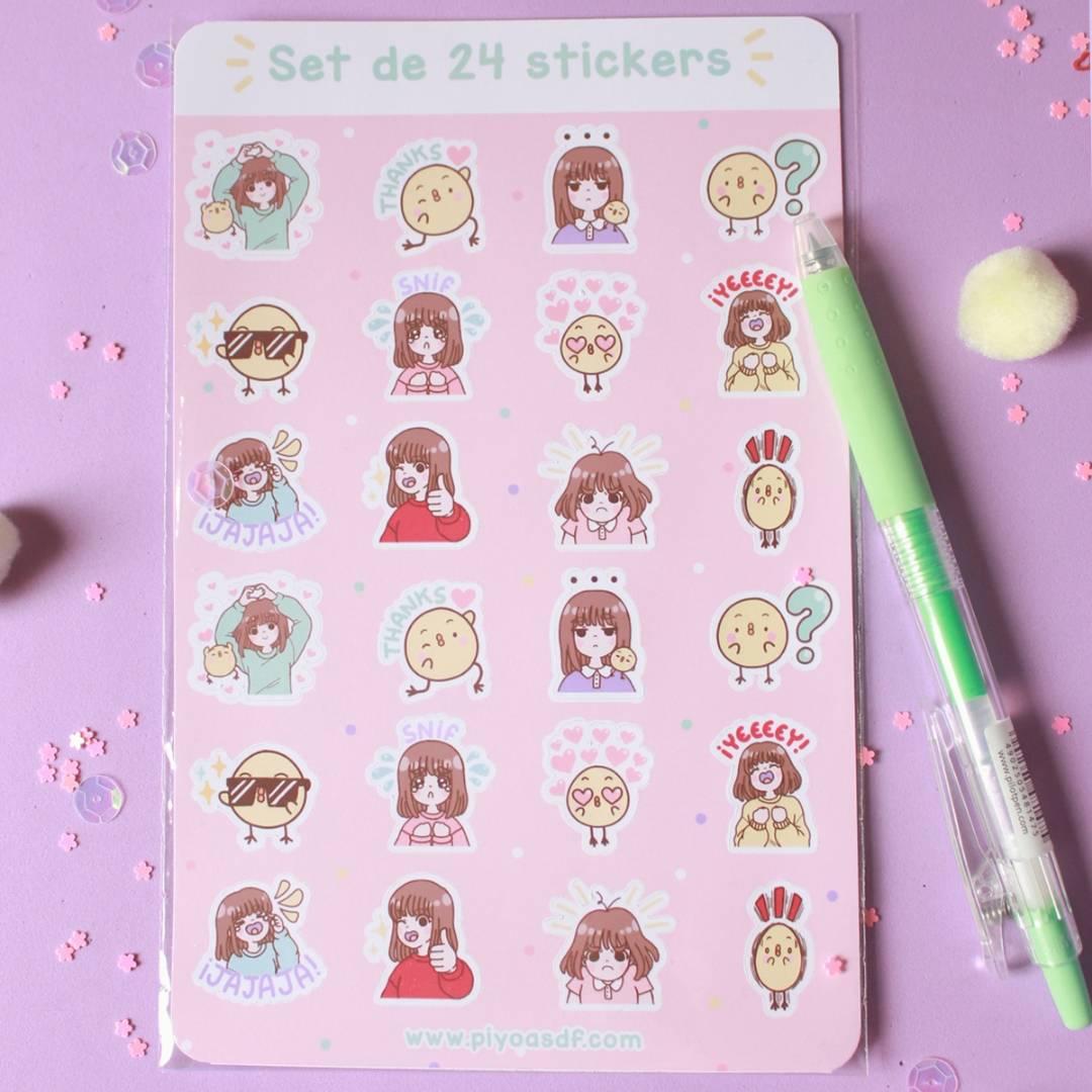 Piyoasdf - Pack Stickers Piyo y Pollito