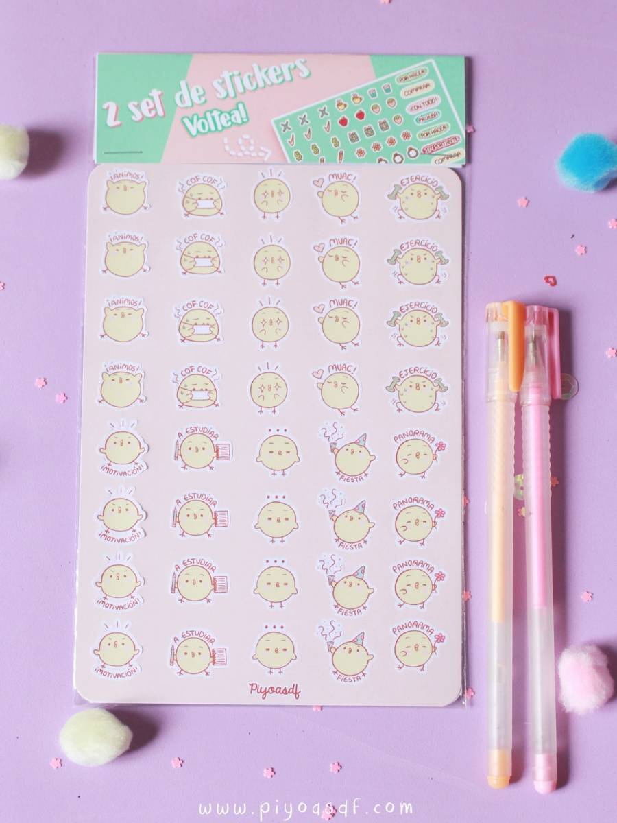 Piyoasdf - Pack Stickers y Planner Pollitos