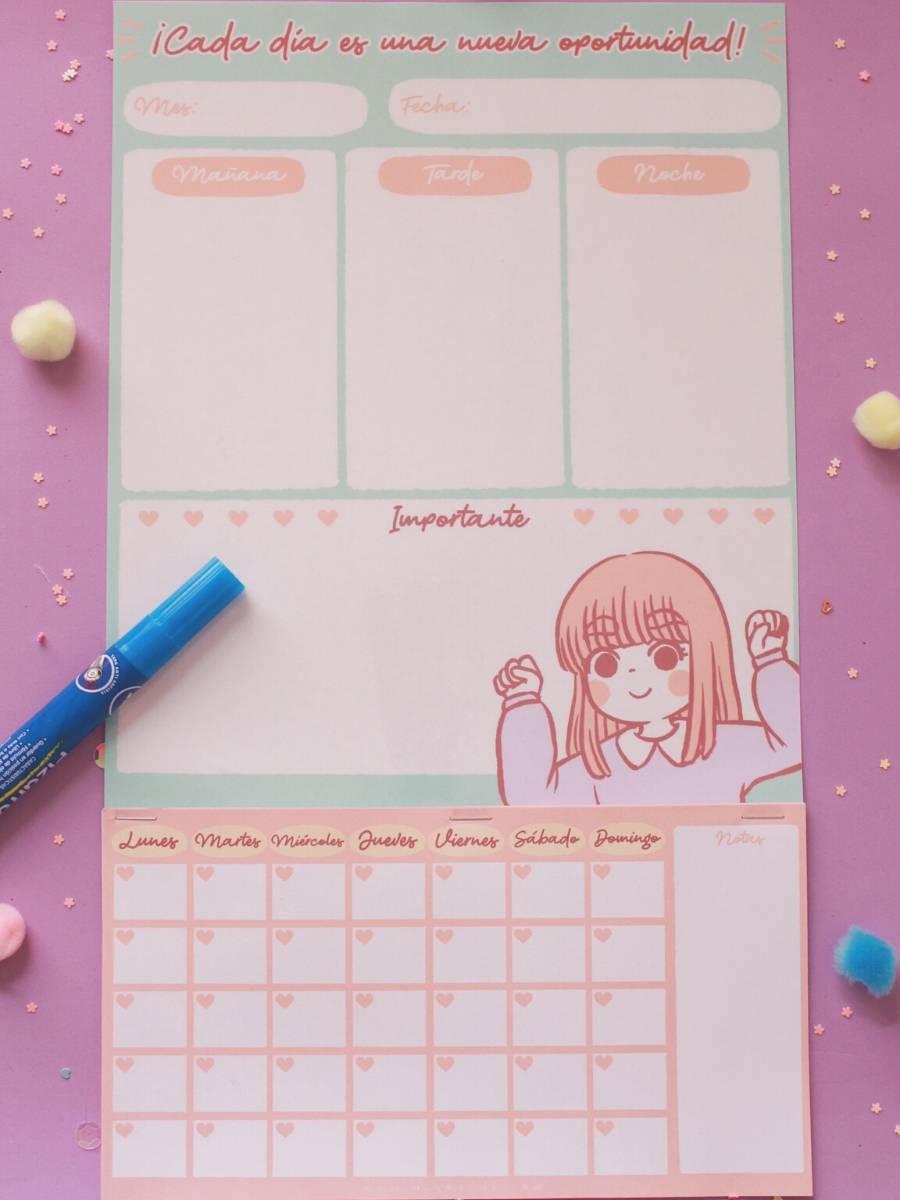 Piyoasdf - Calendario Borrable con Planner Mensual y Diario
