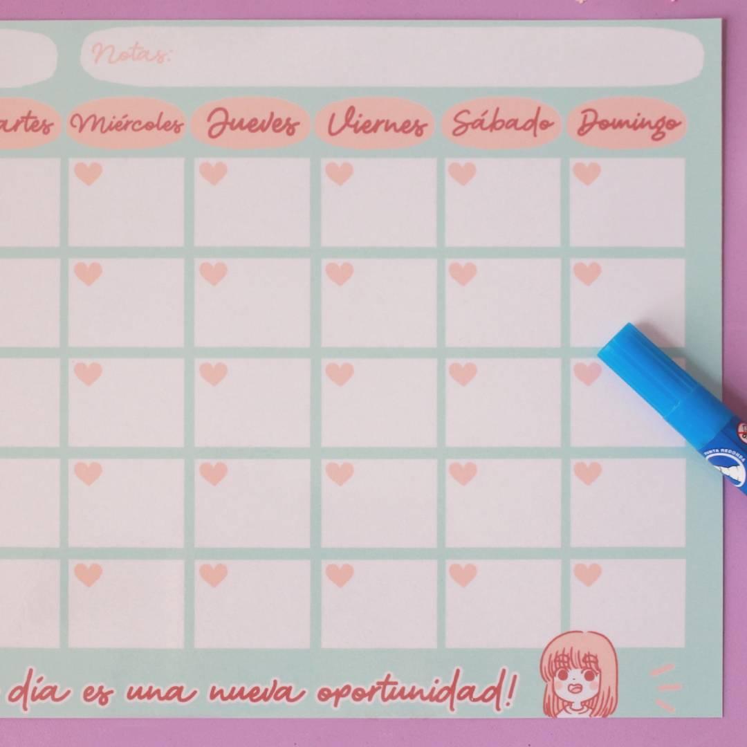 Piyoasdf - Calendario Borrable; c/ Planner Mensual