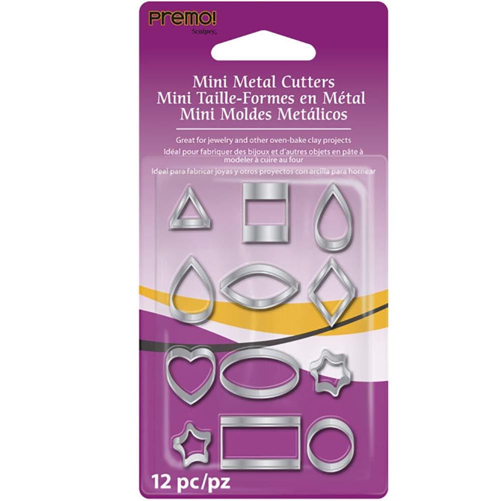 Sculpey Tools- Set 12 Mini Cortadores de Acero; Formas Geométricas