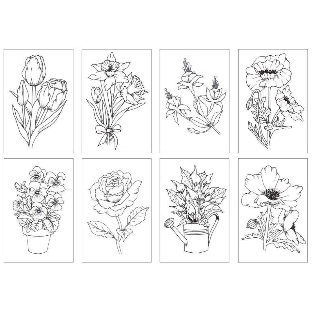 Chameleon Color Cards - Tarjetas para Colorear; Flores