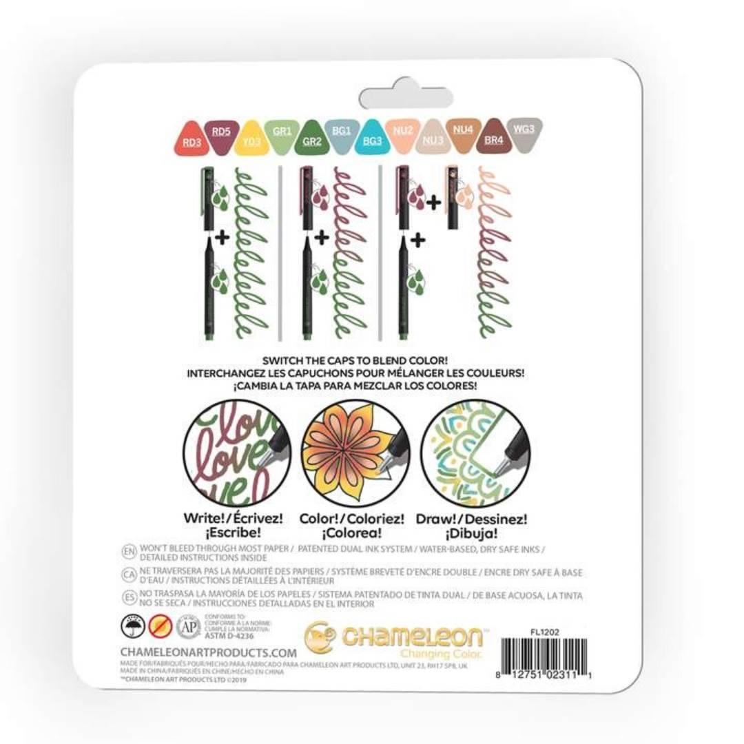Chameleon Fineliners - Set 12 Tiralíneas Colores Diseño