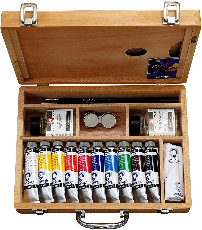Van Gogh Oil Colour - Kit Óleos en Caja de Madera; 10 Tubos de 40 ml y Accesorios