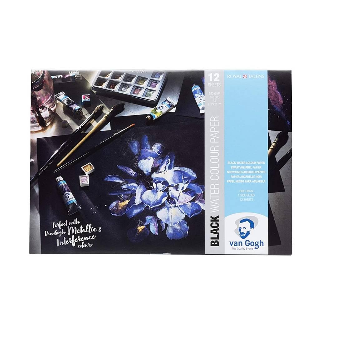 Van Gogh Black Watercolor Paper - Pack 12 Hojas Papel de Acuarela Negro; A4 21x 29,7, 12 Hojas, 360 g/m2