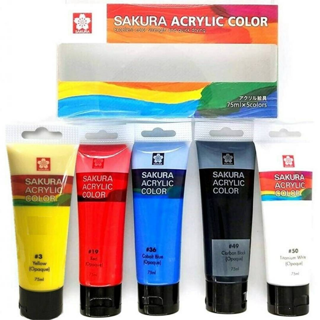 Sakura Acrylic Color - Set 5 Colores Acrílico en Tubos 75 ml